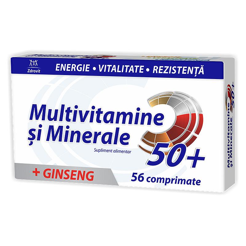 MULTIVITAMINE MINERALE 50+, comprimate, 56 buc, ZDROVIT