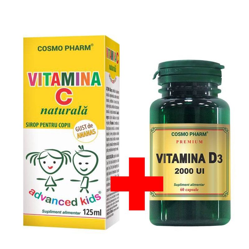 PACHET PROMO VITAMINA C NATURALA SIROP 125 ML + VITAMINA D3