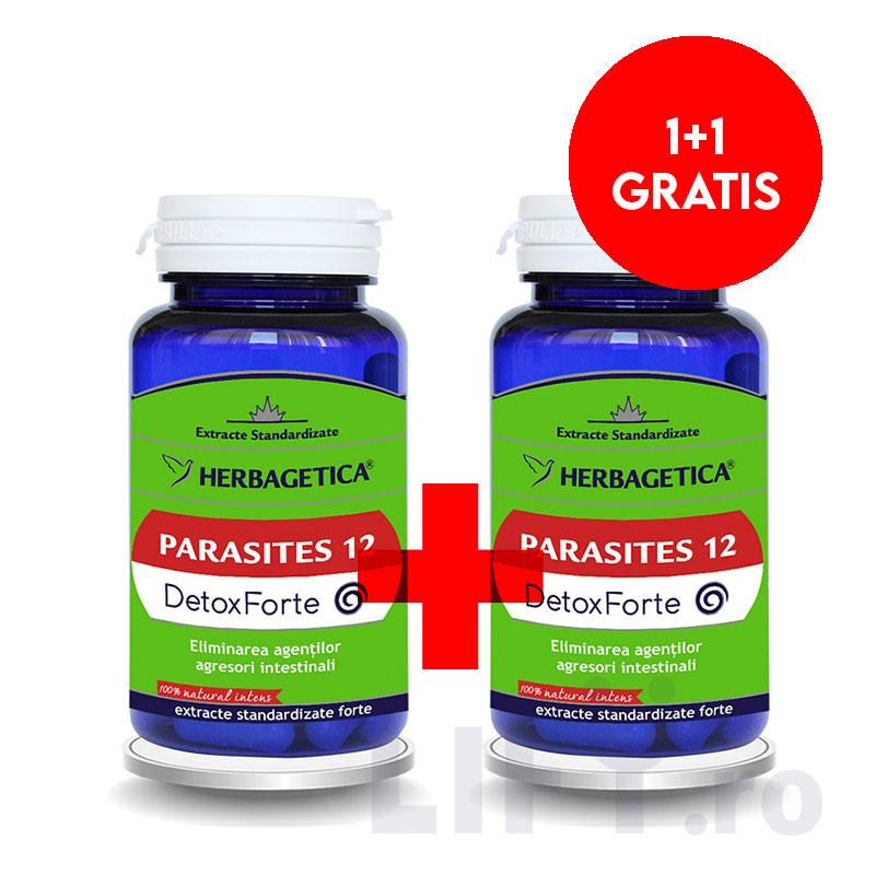PACHET PROMO PARASITES 12 DETOX FORTE 60 CPS + 60 CPS, elimi