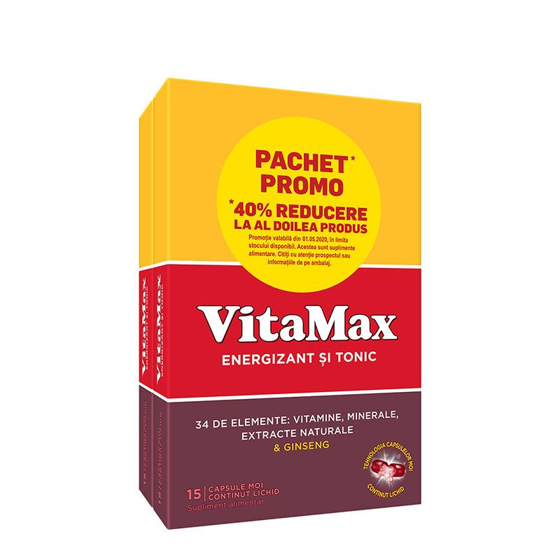 PACHET PROMO VITAMAX 15 CPS 11-40%, energizant si tonic, epu